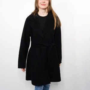 KATE SPADE Black Belted Wool-Blend Coat